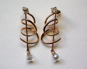 Sterling Silver Vermeil Dangle Pierced Earrings - 5044
