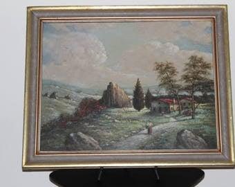 """Vincent Mazino-""""Village Scene With Landscape"""" Oil On Canvas"""