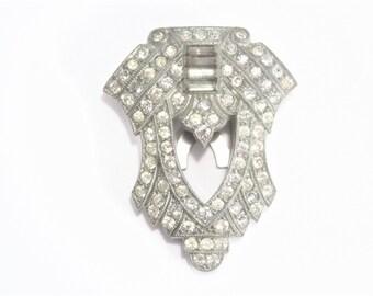 Art Deco Rhinestone Dress Clip Vintage Estate Jewelry