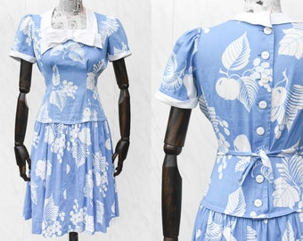 1940s Dress • Junior Fashions by Carole King • Fruit Print Kawaii Dress • Blue Drop Waist Vintage Summer Dress • Button Down Sailor Dress. S