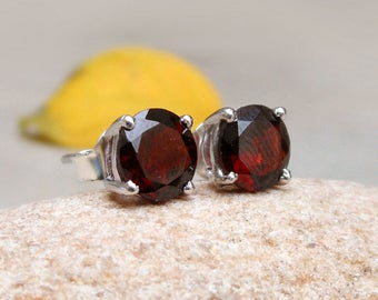 Sterling Silver Garnet Stud Earring Dark Red Garnet Gemstone stud earrings Garnet Studs Silver Post Studs Birthday Gift Jewelry Prong studs