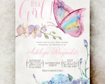 Butterfly Baby shower invitation girl printable - baby shower invitation girl, unique baby shower invitations, baby girl shower invitation