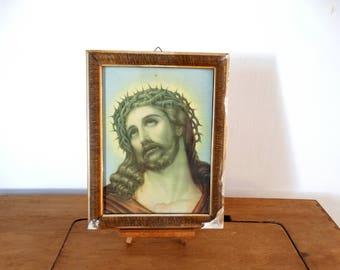 Crown Of Thorns, Jesus Christ, Religious Icon, Antique Icon, Catholic Art, Christian Decor, Baptism Gift, Jesus Art, Altar Decor, Jesus