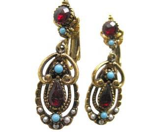 Red and Turquoise Earrings By ART - Signed Costume Jewelry Earrings - Dangle Earrings - Clip On Earrings - Designer Earrings