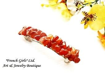 Raw Carnelian Barrette Red Gemstone Cut Rough Crystal Stone Hair Bun Maker Holder Pin Clip Barettes Hair Jewelry Barretts Accessories Clip