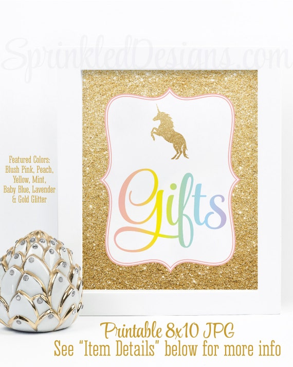 Gift Table Sign Printable Rainbow Unicorn Birthday Party