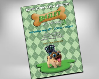 Puppy Dog Invite, Puppy Dog Pals, Puppy Party, Dog Party, Birthday Invites, Puppy Invites, Puppy Dog Pals Invite, Dog Pals Party