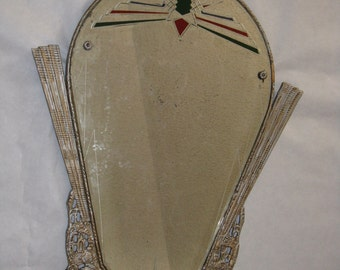 Vintage antique mirror plaster frame red green decoration masonic? coat of arms? unusual shape