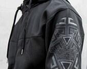 Black on Black Hoodie - Water Resistant Zip up Jacket - VITALITY - Sacred Geometry Clothing