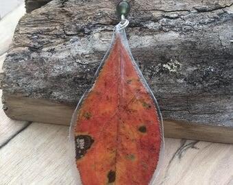 Red Leaf - Pressed Flower Necklace