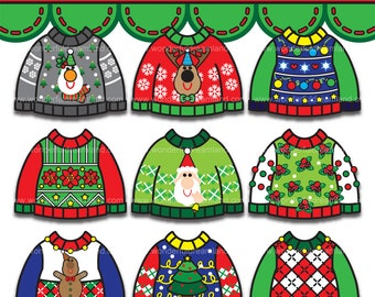 Ugly Sweaters Christmas 4 - PNG SVG EPS Vector Instant Download Printable Cliparts Clip Arts Digital File Scrapbook Kit