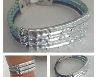 summer, lightblue, braided leather Bracelet, summer color Bracelet, gift, woman Bracelet