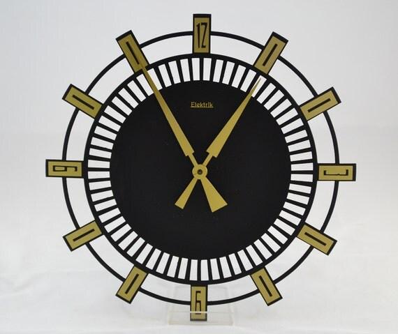 horloge murale horloge art d co ann es 1970 elektrik. Black Bedroom Furniture Sets. Home Design Ideas