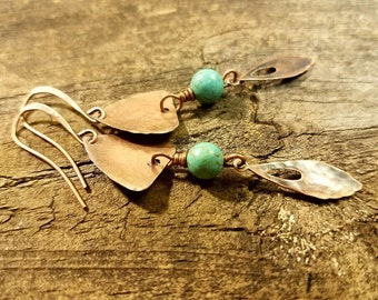 Metal Earrings, Copper Earrings, Boho Earrings, Handmade Earrings, Dangle Earrings, Drop Earrings, Earthy Earrings