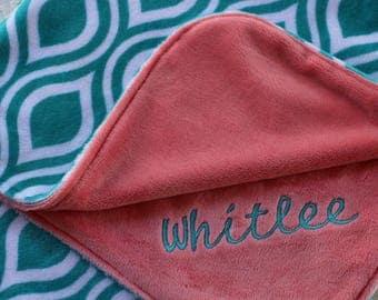 Kids Blanket, Personalized Baby Blanket, Baby Girl or Boy blanket, Coral, Teal, Minky Baby Blanket, Baby Blankets Personalized, Shower Gift