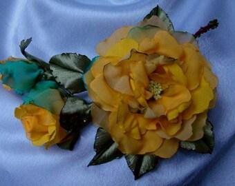 Wedding dress accessories, floral hairpiece,great dress accessory,yellow flower accessories, 100% handmade.