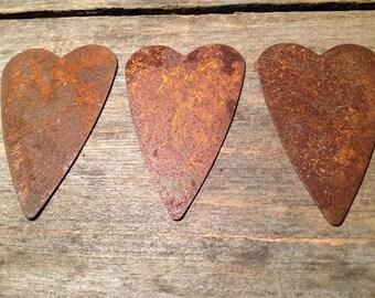 "2-1/2"" Rusty Tin Heart. Package of three (3). Tin Hearts. Rusty Tin. Metal Hearts. Rusty Metal Heart. Rusty Heart. Rusty Tin Embellishments."