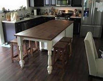 Kitchen Island w/ Seating, Wood Kitchen Island, Custom Made Kitchen Design, Utility Table, Prep Table, Butcher Block, Storage, Bar Stools