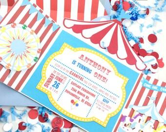 Carnival Invitation - Circus Invitation - Big Top Invitation - Birthday - Blank Card - Greeting Card - 10/pack