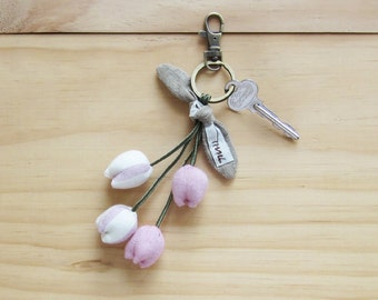 Handmade Four Tulips Key Chains Botanical Dyed Cotton.