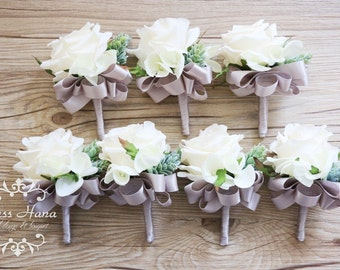 Rustic Boutonniere, Pinecone Ivory Rose Boutonniere, Rustic Buttonhole, Groomsmen Flowers, White Boutonniere, Grey Boutonniere