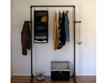 Industrial Clothing Rack   90 Pipe Clothes Rack + Side Hooks   Garment Rack    Retail