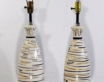 Mid Century Modern Pair of Atomic Ceramic Table Lamps Iron Hairpin Tripod 1950s