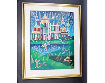 Framed Signed Original Lithograph Yuri Gorbachev Numbered 51/198 Russian Castle