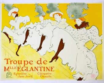"""Toulouse Lautrec Vintage Poster """"Troupe de Mile Eglantine"""" Stamped by Museum TL"""