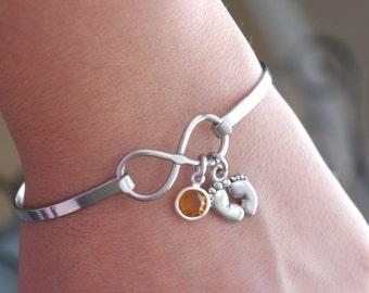 Baby Feet Bracelet, Birthstone Bracelet, Infinity Bracelet, Infinity Baby Feet Bracelet, New Mom Gifts, New Mother Gift, New Grandma Gift