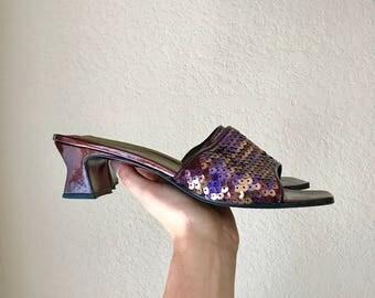 90's Yves Saint Laurent Peep Toe Slip Ons // Square heel // Size 9 M // Vintage Heels, sequined heels, Vintage Kicks, Vintage Shoes