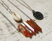 Three necklace superimposing, orange angelaura crystal,  natural cauris, antique coins, boho, coachella