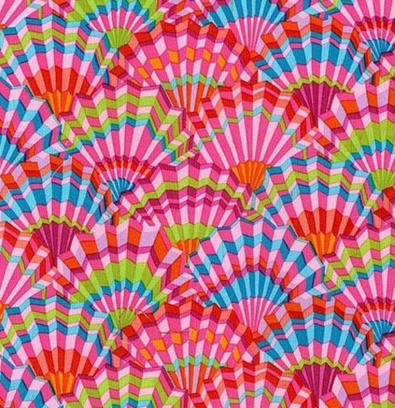 PAPER FANS PINK pwgp143 Kaffe Fassett  Sold in 1/2 yd increments