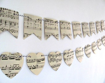 Vintage music bunting.  Sheet music paper garland.  Upcycled eco-friendly gift.  Wedding decor.  Tea party flags. Music lover gift.