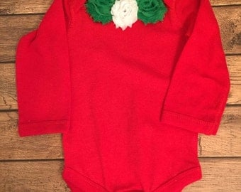 Red Christmas Shabby Flower Baby Bodysuit - Ready to ship