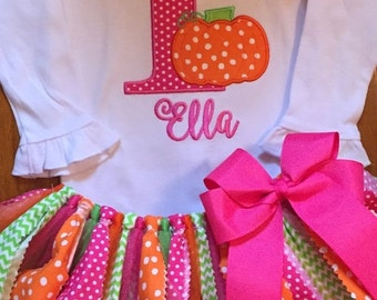 Pink, Lime, and Orange Pumpkin Birthday Tutu Outfit