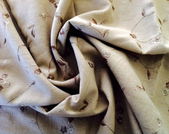 1 1/2 Yards Tan Embroidered Linen Cotton Blend