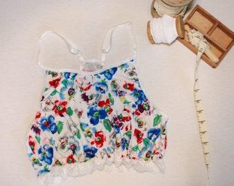 colorful floral bralette, bohochic razor back bralette, bridal bohemian soft bra
