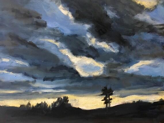 "Original Oil Painting: November Sky , 16"" x 12"", original oil painting"