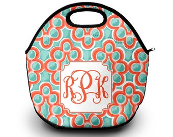 Lilly Pulitzer Inspired Lunch Box | Monogram Lunch Bag | Gift For Her | Lunch Bag Lunch Bag for Women