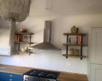 3 Tier shelving system with solid steel handmade bracket system - Rustic Farmhouse Industrial