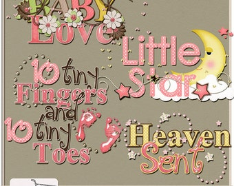 Baby Love Girl Digital Scrapbook Word Art