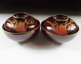 Pair of Urushi Lacquerware Bowls, Koedo