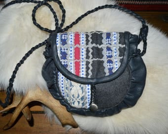 Modern saami bag. Traditional sami pattern, white and blue stripes with silver. Shoulder bag.