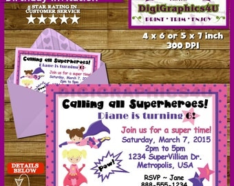 Super Hero, Superheroes Birthday Party Invitation for Girls - Personalized Printable File