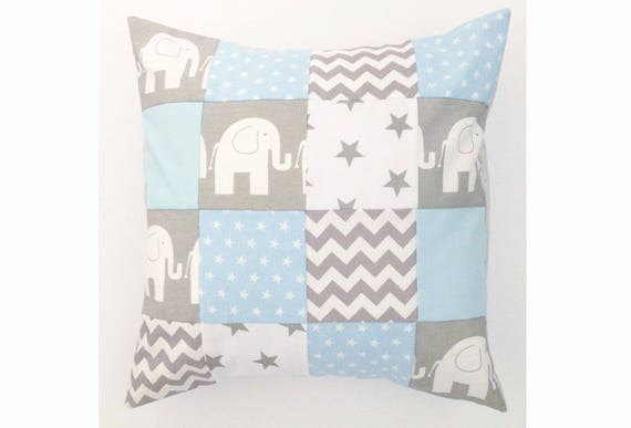 Handmade patchwork baby blue fabric elephant nursery cushion cover, baby pillow, chevron, star, 16x16 inch, 40x40 cm size