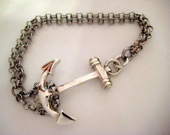 Silver anchor bracelet