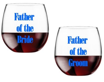 Father of the Bride Glass, Father of the Groom Glass, Set of Wedding Glasses