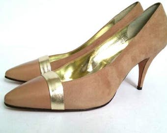 NOS Neutral Gold Pump, Vintage Tan and Gold Pumps, Tan Suede Stilettos, 1980s Career Shoe, 80s High Heels, Vintage Size 9 High Heels