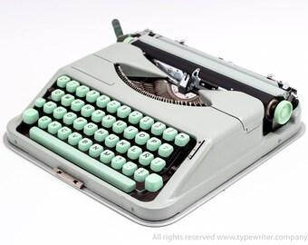 QWERTY Hermes Baby typewriter - very good vintage condition working typewriter - late 1950-60s typewriter - seafoam green